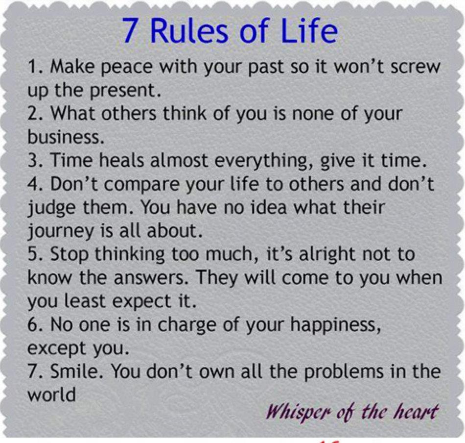 7 Rules Of Life Quote: Mzsunflower's Say What?