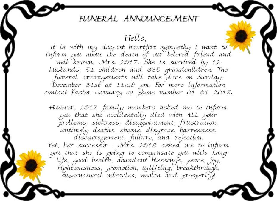 funeral announcement